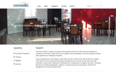 Screenshot of Support Page constellis.com - Constellis: Support - captured Oct. 3, 2014
