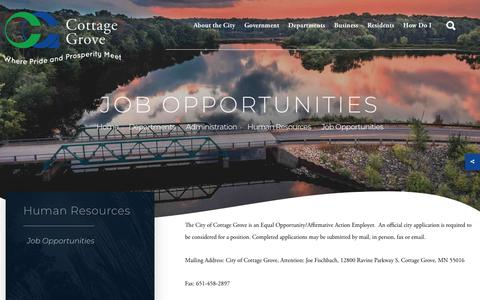 Screenshot of Jobs Page cottagegrovemn.gov - Welcome to Cottage Grove, MN - captured Nov. 3, 2018