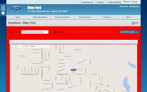 Screenshot of Maps & Directions Page rileyford.net - Directions at Riley Ford - Your Ulysses, Kansas Ford dealer - captured June 24, 2016