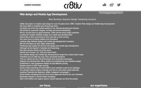 Screenshot of About Page cr8tiv.com - Cr8tiv Web design and Mobile App Development - Cr8tiv - captured May 22, 2017
