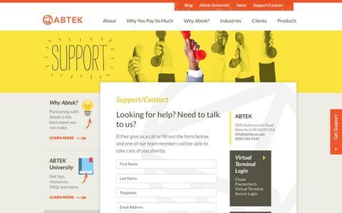 Screenshot of Contact Page abtek.com - Help, Support, Contact | Abtek - captured Sept. 24, 2016