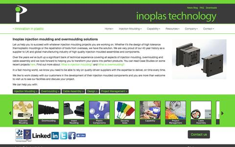 Screenshot of Home Page inoplas.co.uk - Plastic Injection Moulding | Overmoulding | Cable Assembly - captured Nov. 26, 2016