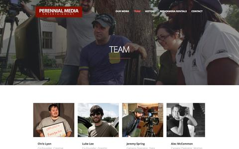 Screenshot of Team Page perennialmedia.com - Team | Perennial Media | Video Production Services and Red Digital Cinema Camera Rental Based in Shreveport, Louisiana - captured Sept. 29, 2014