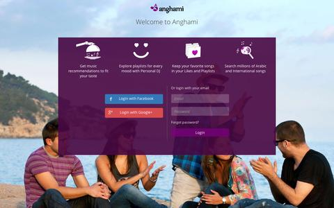 Screenshot of Login Page anghami.com - Welcome to Anghami - captured Dec. 16, 2015