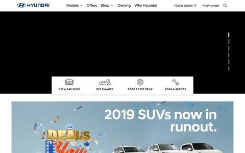 Screenshot of Home Page hyundai.com.au - Hyundai Australia | Models, Offers, Financing & Dealerships  | Hyundai Australia - captured July 12, 2019