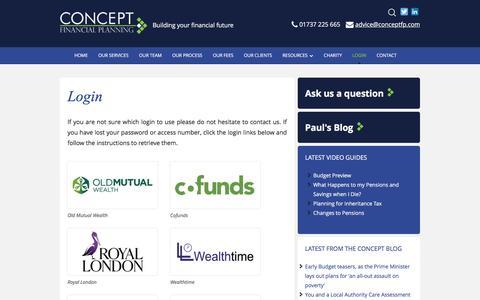 Screenshot of Login Page conceptfinancialplanning.co.uk - Login - Concept Financial Planning - captured Jan. 30, 2016