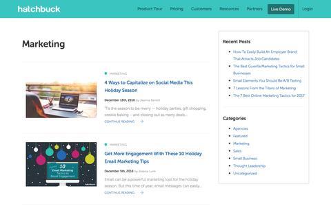 Screenshot of Blog hatchbuck.com - Marketing Archives - Page 2 of 32 - Hatchbuck - captured Jan. 13, 2017