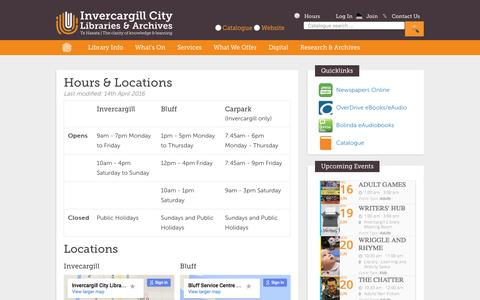 Screenshot of Hours Page ilibrary.co.nz - Hours & Locations    Invercargill City Libraries & Archives - captured June 15, 2016