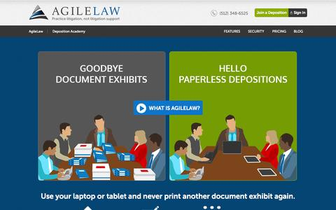 Screenshot of Home Page agilelaw.com - Secure Online Paperless Deposition Solution - captured Oct. 10, 2014