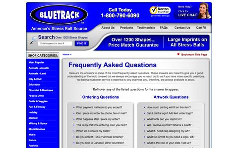 Screenshot of FAQ Page bluetrack.com - BLUETRACK™ - FAQ - Frequently Asked Questions - captured Oct. 5, 2014