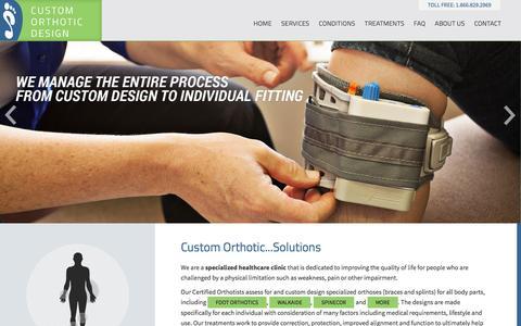 Screenshot of Home Page customorthotic.ca - Custom Orthotics - captured Feb. 1, 2016