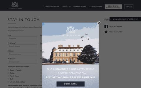 Screenshot of Signup Page staplefordpark.com - Sign Up to the Stapleford Park Mailing List - captured Oct. 19, 2018