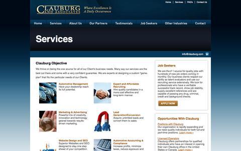 Screenshot of Services Page clauburg.com - Clauburg and Associates - Services | Clauburg And Associates - captured Oct. 2, 2014