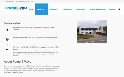 Screenshot of About Page pumpandvalve.com - Industrial | NZ | Pump and Valve | About Us - Our Story - captured Sept. 5, 2017