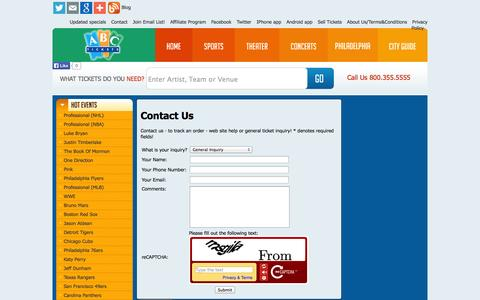 Screenshot of Contact Page abctickets.com - Contact Us - captured Sept. 23, 2014