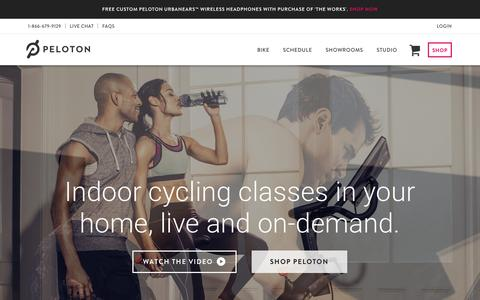 Screenshot of Home Page pelotoncycle.com - Peloton Cycle ®| Exercise Bike With Indoor Cycling Classes Streamed Live & On-Demand - captured Dec. 7, 2015