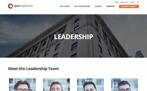 Screenshot of Team Page iperceptions.com - Leadership | iperceptions - captured July 13, 2018