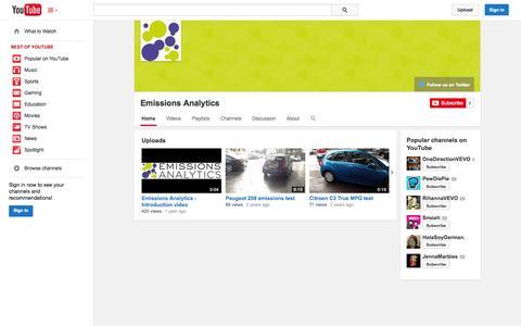 Screenshot of YouTube Page youtube.com - Emissions Analytics  - YouTube - captured Oct. 22, 2014