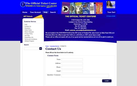 Screenshot of Support Page officialticketcenter.com - Disney World, Universal Studios, Sea World Tickets Orlando, FL - Contact Us - captured Nov. 4, 2014