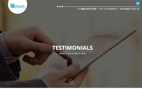 Screenshot of Testimonials Page baltech.in - Web and Mobile Application Development, India | Baltech - captured Aug. 1, 2018