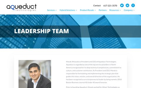 Screenshot of Team Page aqueducttech.com - Leadership Team - Aqueduct Tech - captured Aug. 15, 2019