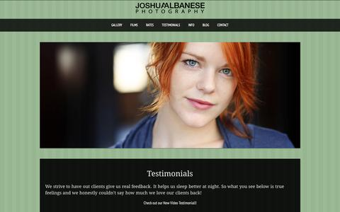 Screenshot of Testimonials Page joshuaalbanese.com - Testimonials from happy Headshot and Wedding ClientsChicago Wedding and Headshot Photographer - captured Aug. 5, 2015