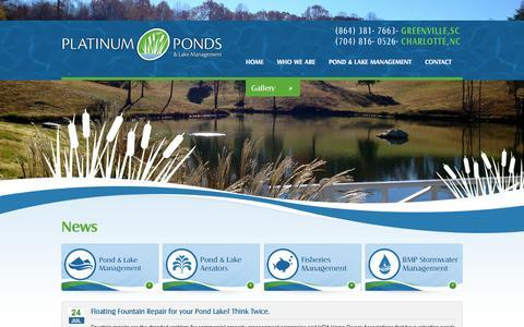 Screenshot of Press Page platinumlakemanagement.com - Pond & Lake Management News  North & South Carolina - captured Oct. 1, 2014