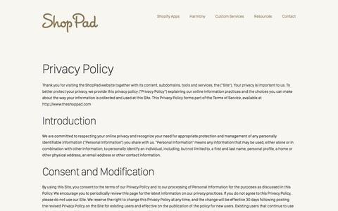 Screenshot of Privacy Page theshoppad.com - Privacy Policy | ShopPad - captured June 21, 2017