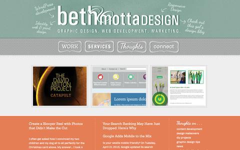 Screenshot of Home Page bethmotta.com - Beth Motta Design—Graphic Design and Web Development - captured Feb. 7, 2016