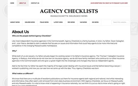 Screenshot of About Page agencychecklists.com - Agency Checklist - Information For Insurance Professionals - captured Sept. 23, 2014