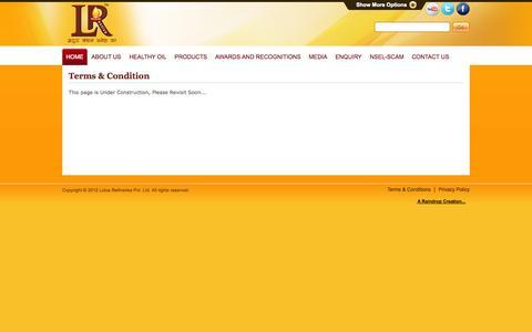 Screenshot of Terms Page lotusrefineries.com - Lotus Refineries - captured Oct. 3, 2014