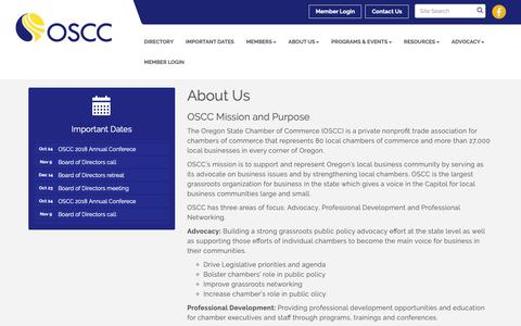 Screenshot of About Page oregonchamber.org - About Us - Oregon State Chamber of Commerce, OR - captured Oct. 19, 2018