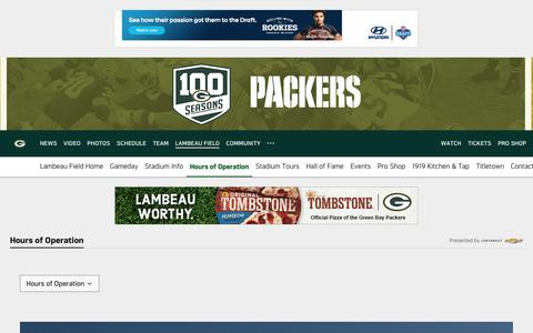 Screenshot of Hours Page packers.com - Packers.com, the official website of the Green Bay Packers - captured June 1, 2018