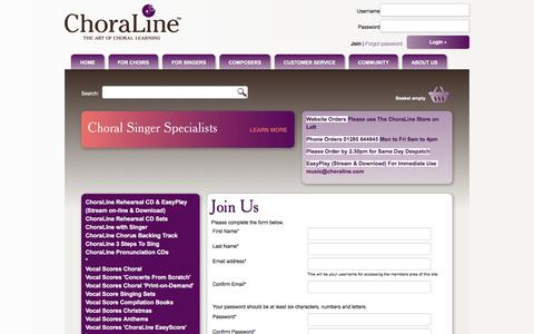 Screenshot of Signup Page choraline.com - Register to Choraline : Choraline - captured Nov. 30, 2016