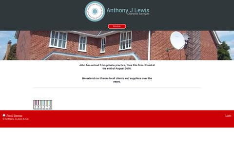 Screenshot of Home Page anthonyjlewis.com - Anthony J Lewis & Co. Chartered Surveyors - captured Oct. 8, 2017