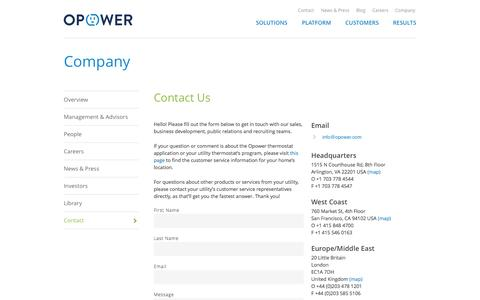 Screenshot of Contact Page opower.com - Contact | Opower - captured Sept. 13, 2014