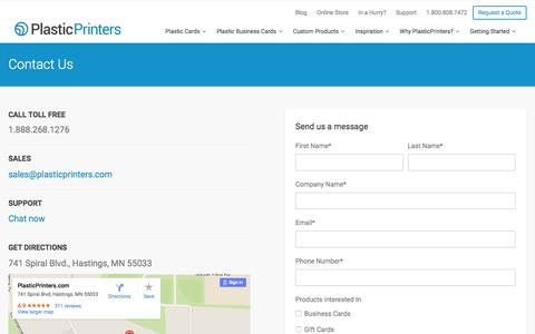 Screenshot of Contact Page plasticprinters.com - Contact Us | Plastic Printers, Inc. - captured Jan. 15, 2016
