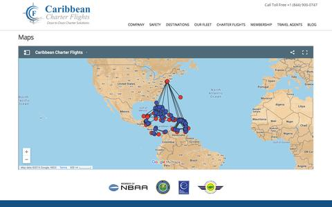 Screenshot of Maps & Directions Page caribbean-charter-flights.com - Maps - Caribbean Charter Flights - captured July 11, 2016