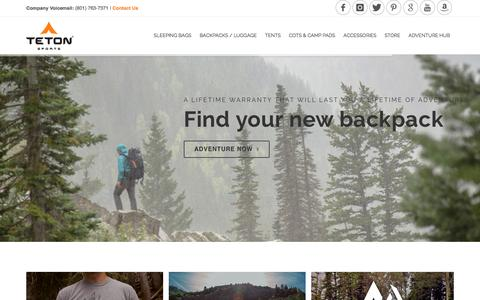 Screenshot of Home Page tetonsports.com - TETON Sports Sleeping bags, backpacks, tents, cots, and camp pads | #Hikerchat - captured Jan. 11, 2016