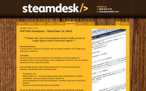 Screenshot of Jobs Page steamdesk.com - Careers | SteamDesk - captured Oct. 7, 2014