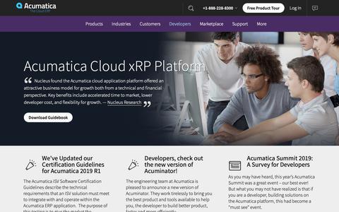 Screenshot of Developers Page acumatica.com - Acumatica Cloud xRP Platform | Acumatica Cloud ERP - captured May 15, 2019