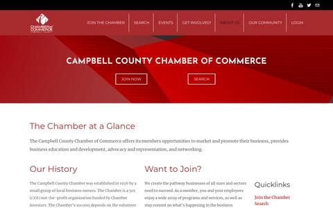 Screenshot of About Page gillettechamber.com - About Us - captured Sept. 26, 2018