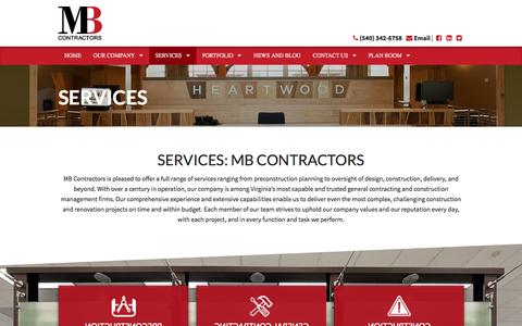 Screenshot of Services Page mbcontractors.com - General Contracting & Construction Management Services: MB Contractors - captured Nov. 16, 2016