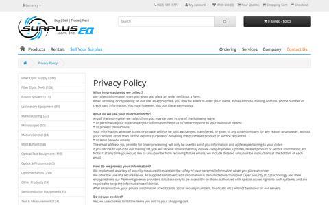 Screenshot of Privacy Page surpluseq.com - SurplusEQ.com Privacy Policy - captured Dec. 2, 2016
