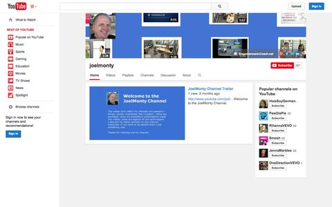 Screenshot of YouTube Page youtube.com - joelmonty  - YouTube - captured Oct. 23, 2014