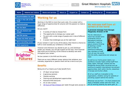 Screenshot of Jobs Page gwh.nhs.uk - Working for us - Great Western Hospitals NHS Foundation Trust - captured Nov. 14, 2016