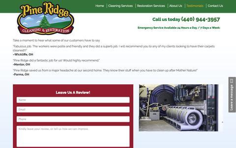 Screenshot of Testimonials Page pineridgerestoration.com - Testimonials | Pine Ridge Cleaning and Restoration - captured Sept. 28, 2018