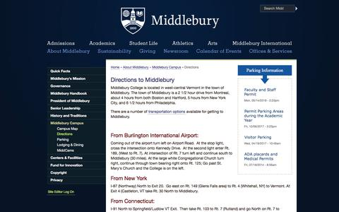 Screenshot of Maps & Directions Page middlebury.edu - Directions | Middlebury - captured June 13, 2018