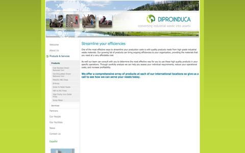 Screenshot of Products Page diproinduca.com - Diproinduca - converting industrial waste into assets - Products - captured Oct. 5, 2014