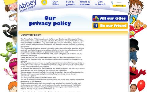 Screenshot of Privacy Page abbeyhomemedia.com - Abbey Home Media: Privacy policy - captured Sept. 30, 2014